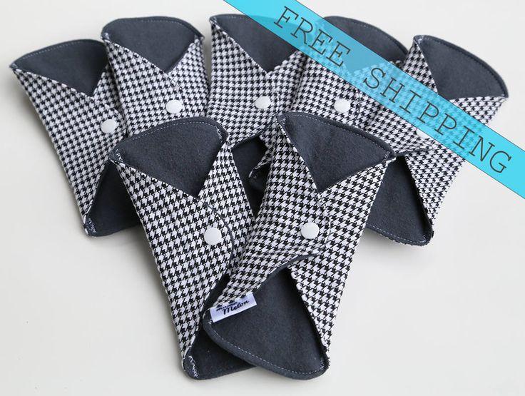 """7- 7"""" pantyliner charcoal grey cloth pads Cloth Pad Mama Pad No Menstrual Pad Washable Cloth Pad Reusable Cloth Liner Everyday Woman Pad"""
