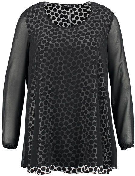 Opvallend ontwerp! Een modieuze lange blouse voor casual feeling. Semi-transparante chiffon benadrukt in de romp met een effectieve stippen druk. Dit ...