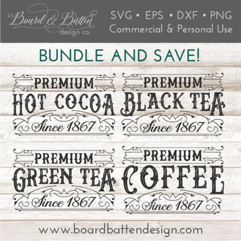 Vintage Label SVG Bundle - Premium Coffee, Black Tea, Green Tea and Hot Cocoa