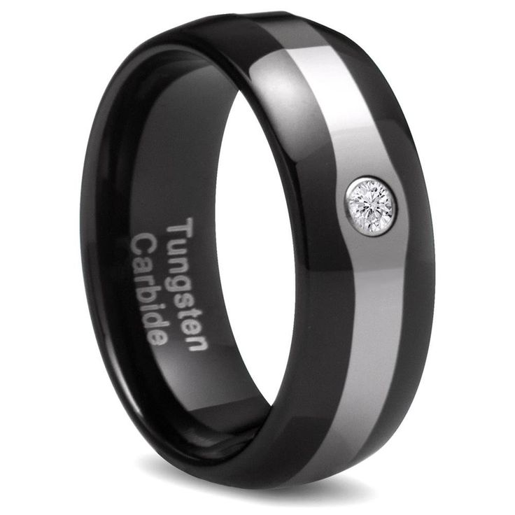 Penny Auctions Canada | Men's Black Tungsten CZ Domed Ring (8 mm)