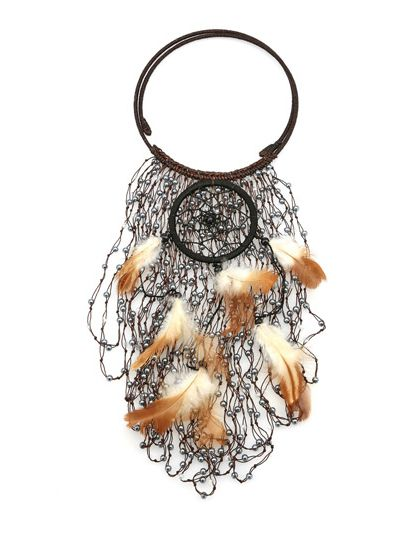 Nightmarket - Collane - Accessori - Collana con perline in cristallo e piume. - BIANCO - € 140.00