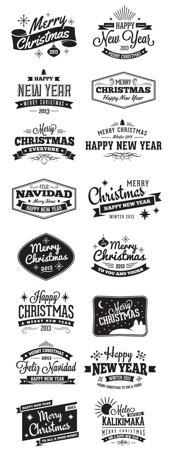 Christmas Badges and Label Vectors by vandelay on Creative Market