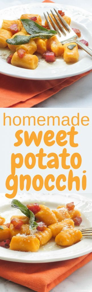 This sweet potato gnocchi recipe makes a delicious side dish bathed in browned butter, crispy sage leaves, pancetta and parmesan cheese. #gnocchi #homemadegnocchi #pasta #italianrecipes #sweetpotatoes #sidedish #potatoes #sage #parmesan #howtomakegnocchi #gnocchifromscratch #homemadegnocchi