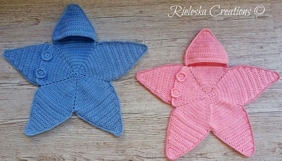Crochet Pdf Pattern- Star baby bunting- Baby cocoon / 0-3 months Price is for the PATTERN only, not the finished product. Size: 0-3 months Worsted weight yarn, hook size 3,5 mm There is no shipping charge for this item, as it is a PDF file and will be sent almost direct of payment. If you