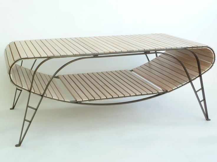 Low Table in Oak, with Powercoated Steel Leg frame