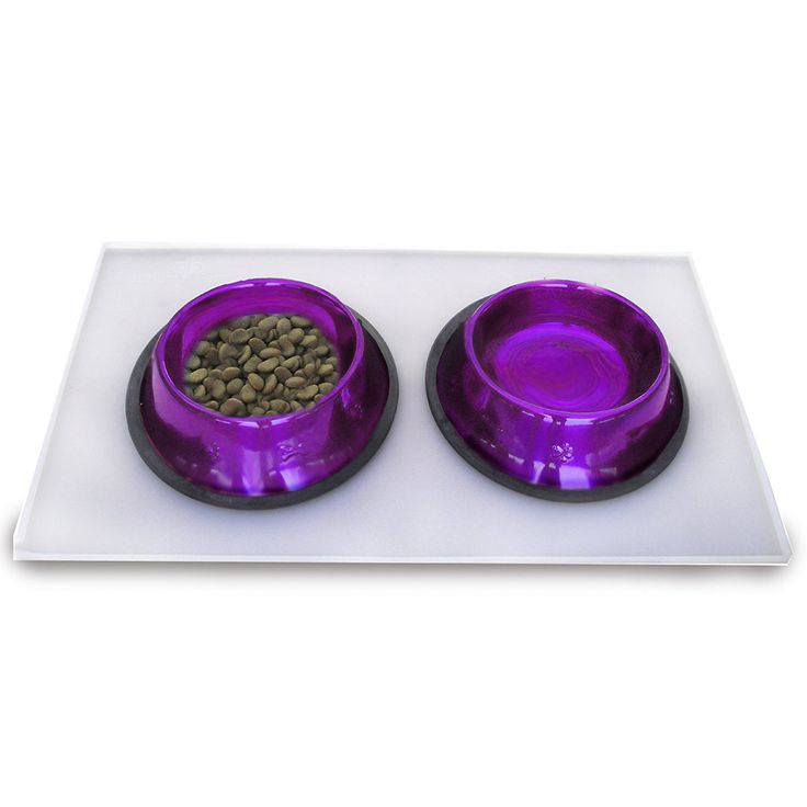 Platinum Pets 4 Cup Embossed Non-Tip Stainless Steel Dog Bowls with Clear Feeding Mat, Electric Purple -- Want additional info? Click on the image.