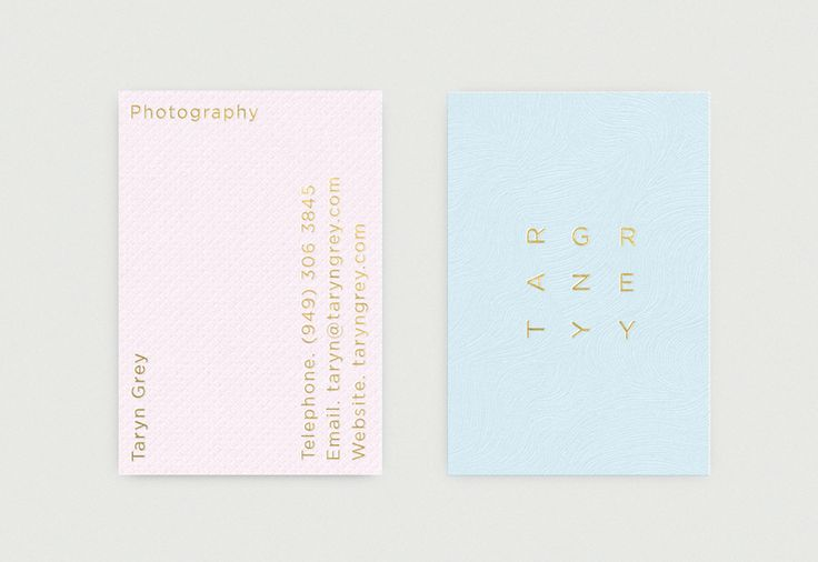 Brand identity and business cards for photographer Taryn Grey by Richard Baird