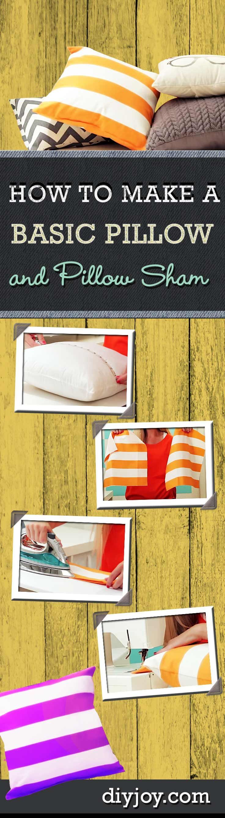How to Make A Pillow Sham - Sewing Tutorials for Beginners and Easy DIY Projects at diyjoy.com/...