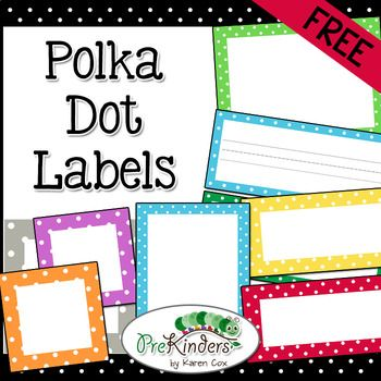 A set of free printable polka dot labels for your classroom. Labels come in 10 colors plus a set of bold black dots. Small commercial use on TPT okay -- please read my Terms of Use! Note: This is a Zip file containing all of the individual labels as images (graphics), so you can upload them into your
