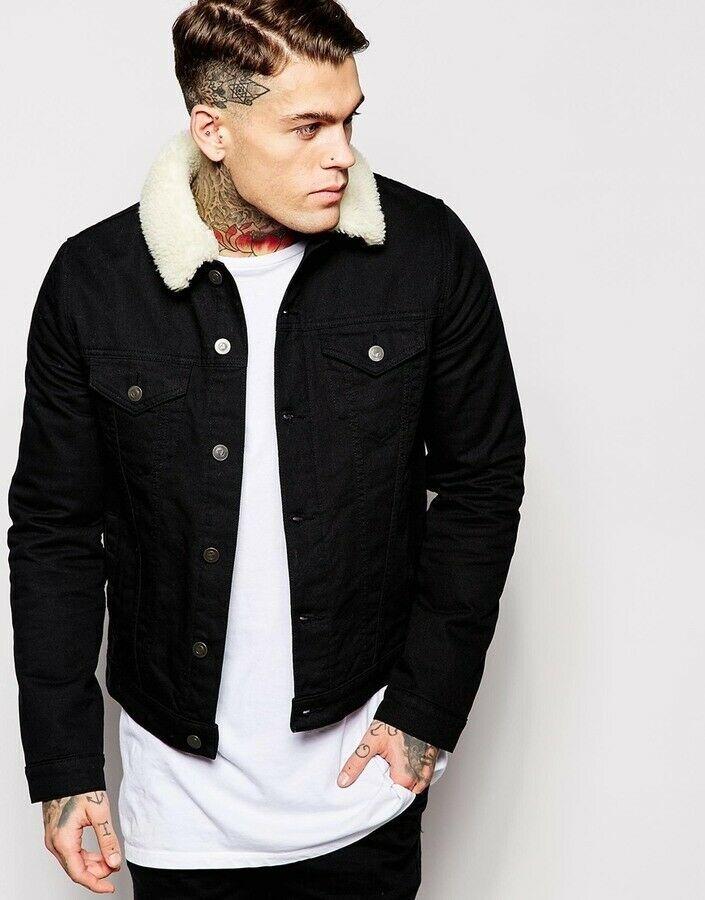 Asos Mens Black Denim Jacket With Fur Collar Size Xs Young Boy Worn Once Fashion Clot Camisa De Mezclilla Hombre Ropa Casual De Hombre Estilo De Ropa Hombre