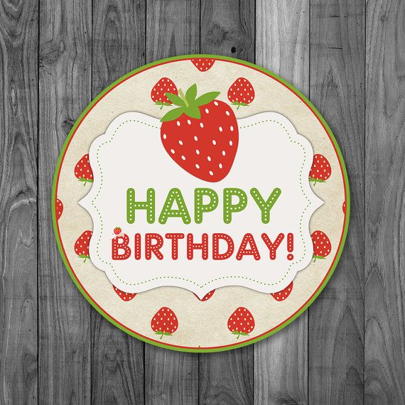 Strawberry Bithday Cake Topper Label  by Poetryinsimplethings
