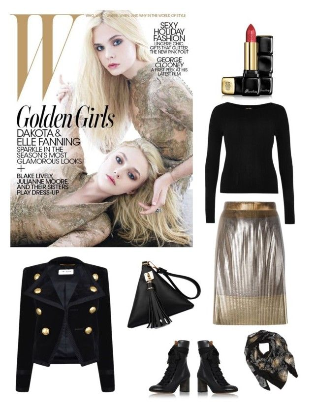 """Affortable Gold"" by raffaellapapami on Polyvore featuring Golden Goose, River Island, Chloé, Yves Saint Laurent, Sophie Darling and Guerlain"