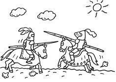 Ausmalbild Ritter: Ein Ritterturnier zum Ausmalen kostenlos ausdrucken