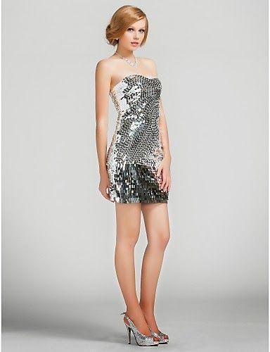 Vestido coctail de lentejuelas plateado Anisa @ Vestidos de fiesta baratos