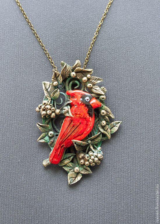 "Купить Кулон ""Кардинал"" - ярко-красный, кардинал, кулон, бронза, лес, осень, ягоды, птица"