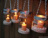 Ideas, Masons, Flower Vases, Mason Jars Lanterns, Hanging Teas Lights, Hanging Mason Jars, Lanterns Hanging, Mason Jar Lanterns, Tea Lights