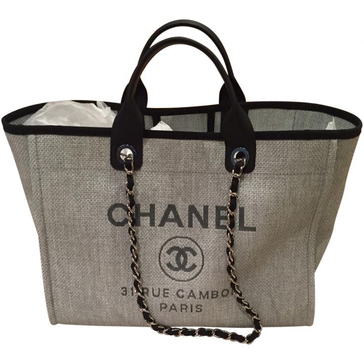 CHANEL Chanel Grey Deauville tote