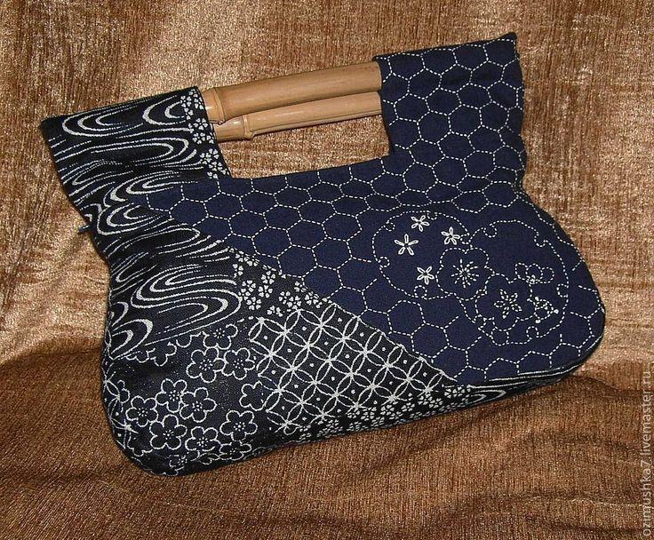 """Купить Сумочка-клатч """"Японские цветы"""" - женская сумочка, синяя сумочка, сумочка с вышивкой"""