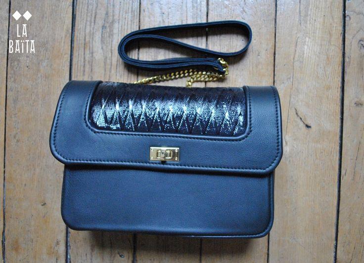 """sac à main """"JEANNE"""" cuir noir et fantaisie bleu via La baita. Click on the image to see more!"""