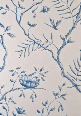 Jasper Peony fabric in China Blue colourway.