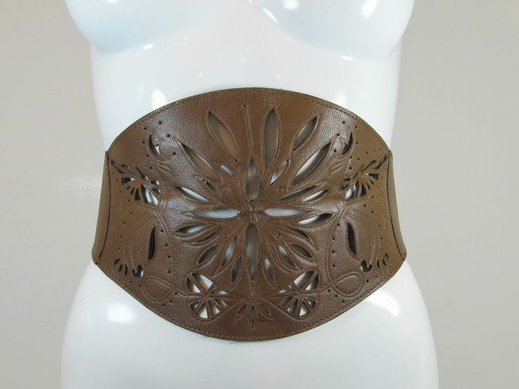 Warehouse brown wide leather waist cincher belt cut out details size S R12060