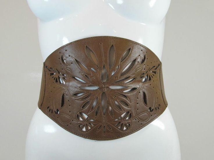 Warehouse brown wide leather waist cincher belt cut out details size S R12060