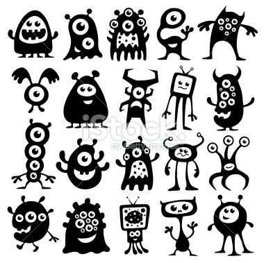 A collection of black and white monsters and aliens