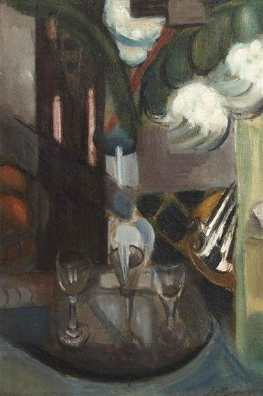 Henri Le Fauconnier, (1913) still life with a carafe and glasses