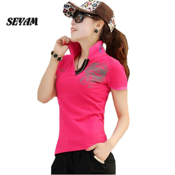 SEYAM Polo Women Shirt Short Sleeve Turn Down Polo Shirt Print Camisas Polo de Marca Mujer Women Top PL0135