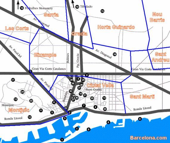 Carte des quartiers historiques de Barcelone
