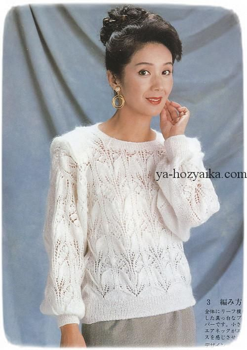 нежный пуловер спицами вязание из японских журналов спицами