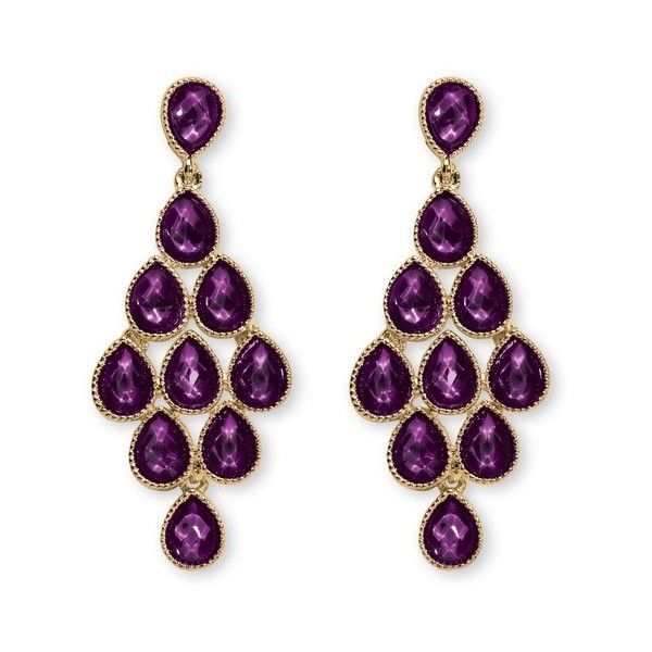 Birthstone Chandelier Earrings in Yellow Gold Tone (29 CAD) ❤ liked on Polyvore featuring jewelry, earrings, jewelry & watches, purple, rings, gold teardrop earrings, purple earrings, fake earrings, tear drop earrings and birthstone earrings