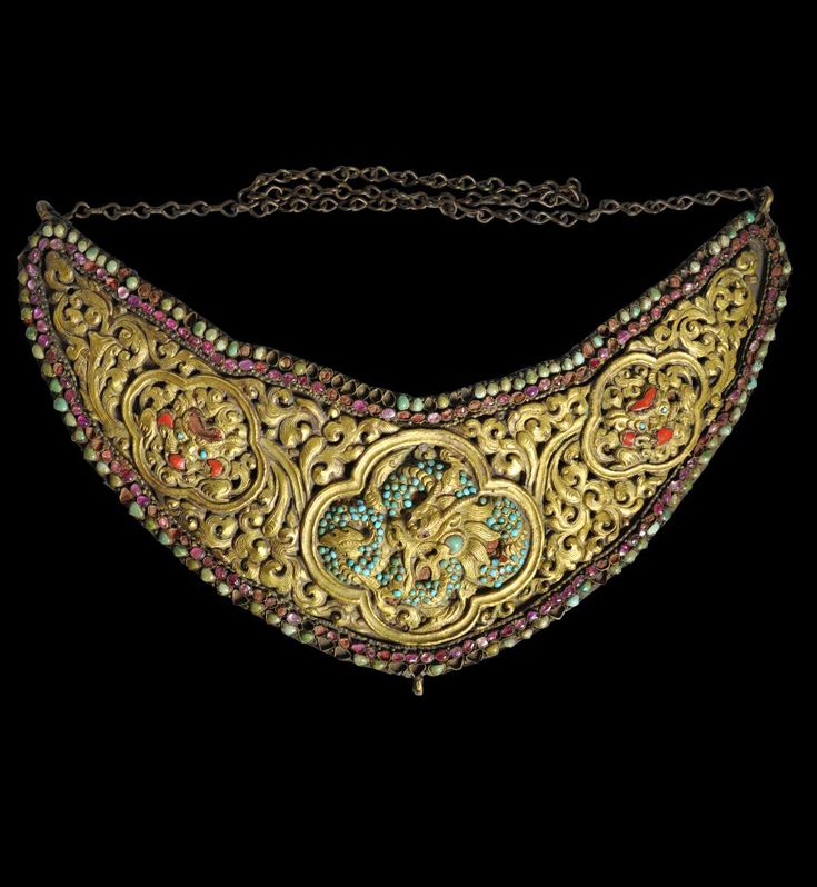 Nepal | Turquoise and ruby gem set gilded copper breast plate ~ Suta or Konchi ~ from the Kathmandu Valley | 18th - 19th century | POR