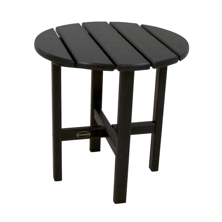Polywood Round Patio Side Table - Black