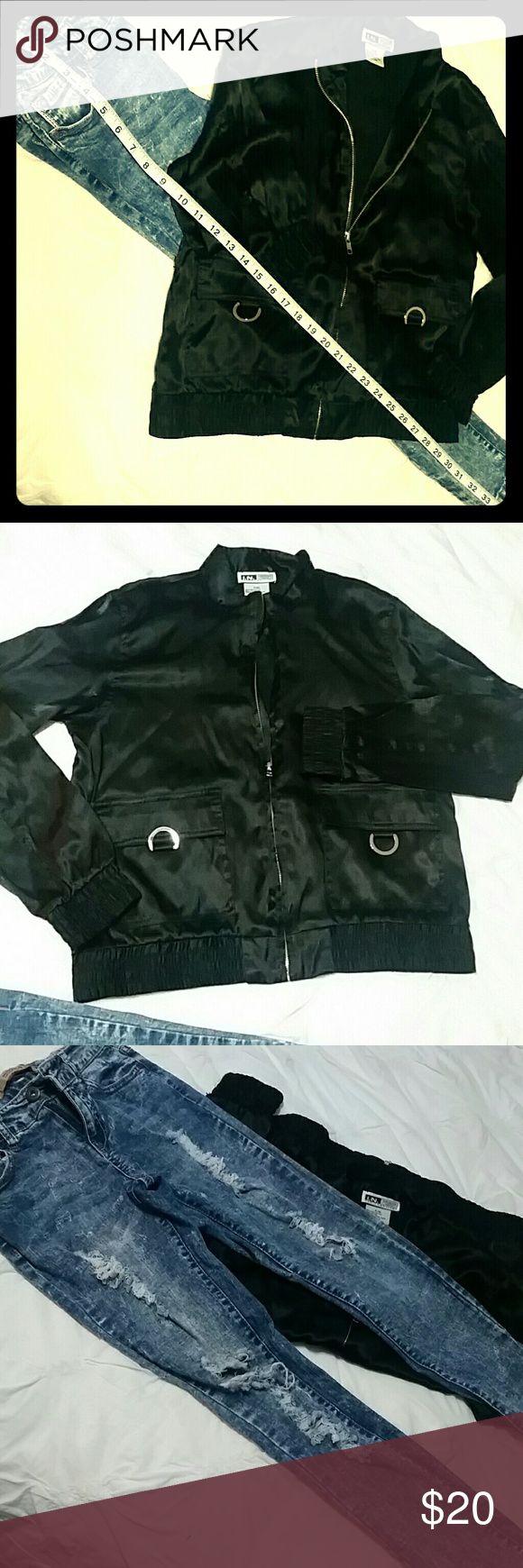 Jeggins & Blazer Bundle✌🗯🎶 HIghway jeans jeggings size 0 & satin black blazer with zipper, size P/M ,I.N. STUDIO petite Highway Jeans Jackets & Coats Jean Jackets