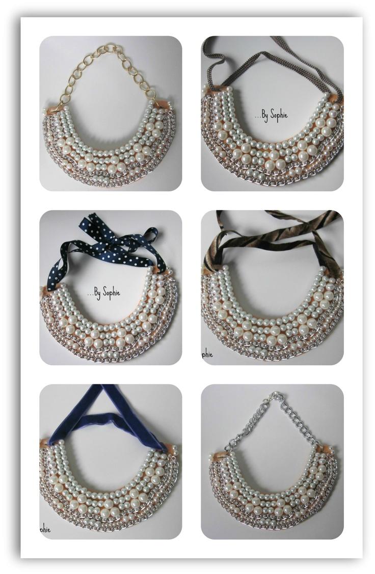 Una cuantas opciones para poner el babero de perlas.