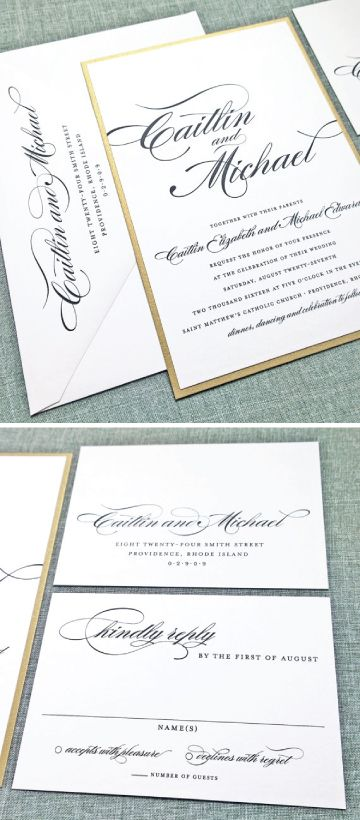 Caitlin Classic Script Metallic Gold Layered Wedding Invitation - Available with metallic gold, metallic silver, or other metallic or matte colored card stock.