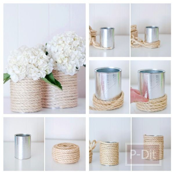 DIY flower vase... might be too rustic. But cool idea.