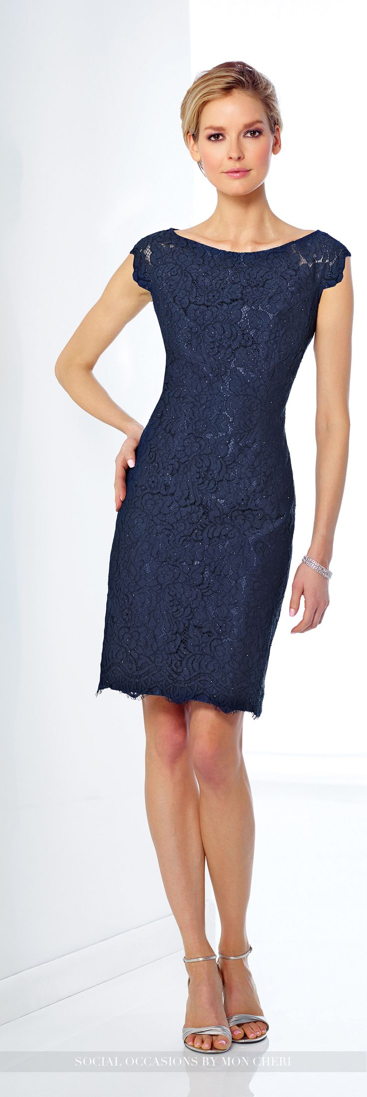 Delicately hand beaded lace over shantung knee length for Navy dress for fall wedding