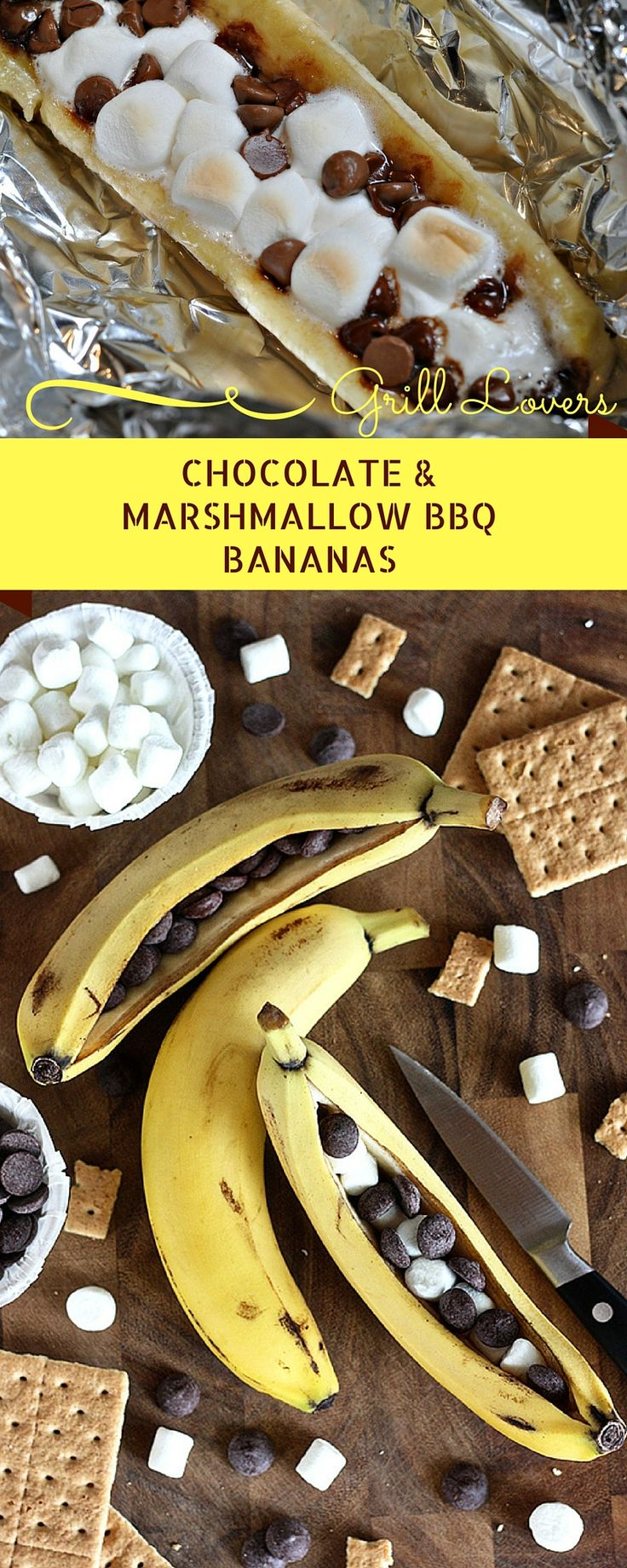 Grill Lovers' Amazing Chocolate & Marshmallow BBQ Bananas Recipe #recipes…