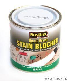 Блокиратор пятен (Stain blocker Rustin's) Блокирует пятна от асфальта, битума, карандашей, граффити, никотина, ржавчины, сажи, воды Подходит для дерева, бетона, МДФ и прочих поверхностей Для внутреннего и внешнего применения Не пропускает пятна сквозь финишные покрытия Сверху может быть обработано любым материалом Быстро сохнет, слабый запах Производство: Rustins, Англия