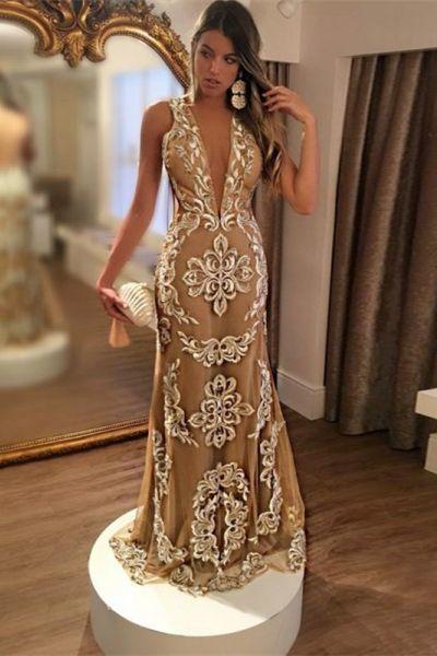 Mermaid Deep V-Neck Backless Sweep Train Champagne Tulle Prom Dress ... 83d2b218b80d