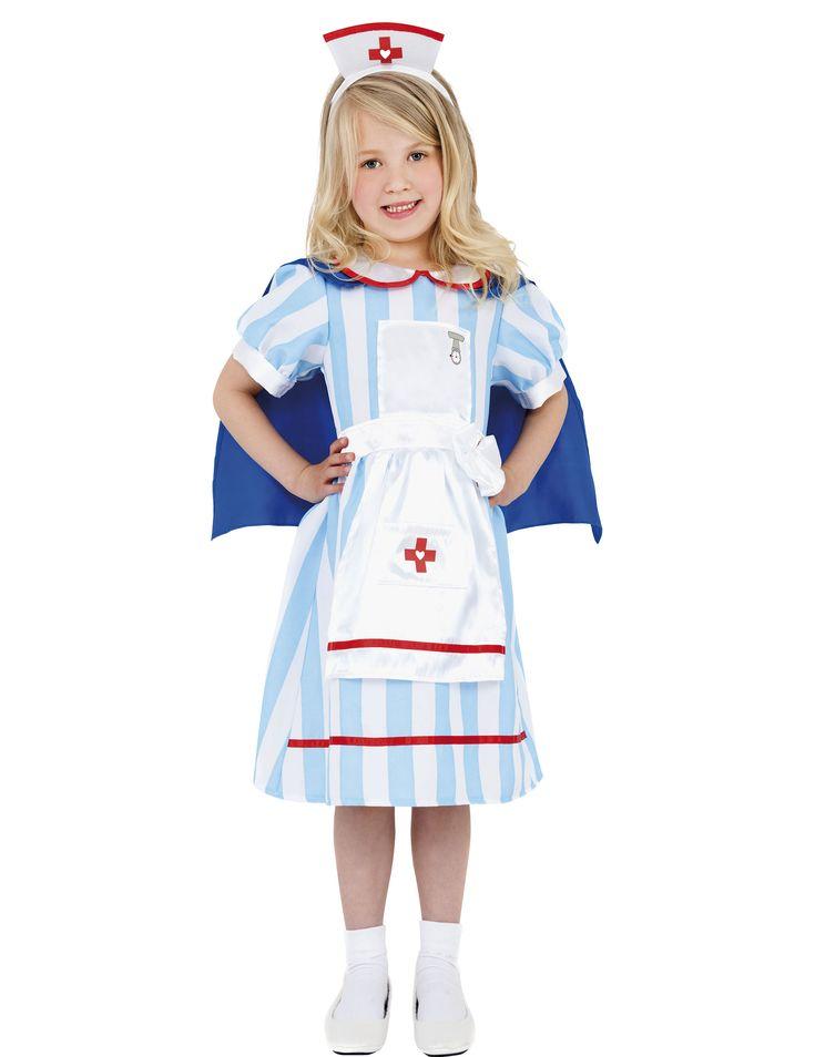 Déguisement infirmière vintage fille : Ce déguisement d'infirmière vintage pour fille se compose d'une robe avec cape et d'un serre-tête (chaussures non incluses). La robe est à rayures blanches et...