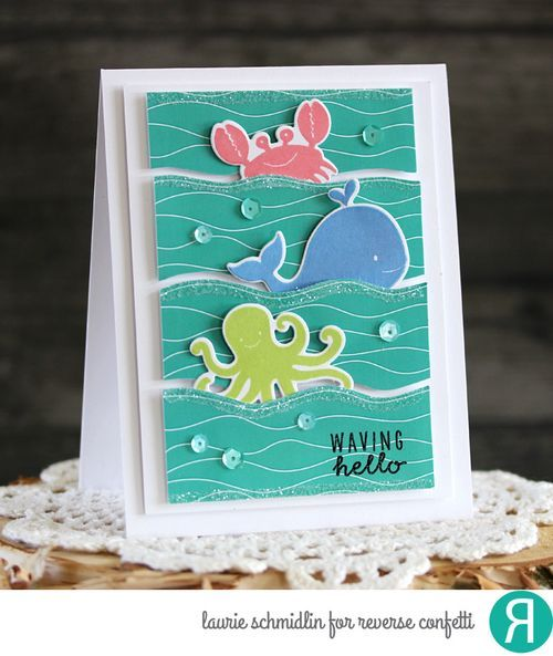 Card by Laurie Schmidlin. Reverse Confetti stamp set and coordinating Confetti Cuts: Seaside. Quick Card Panels: By the Sea. Friendship card. Encouragement card.