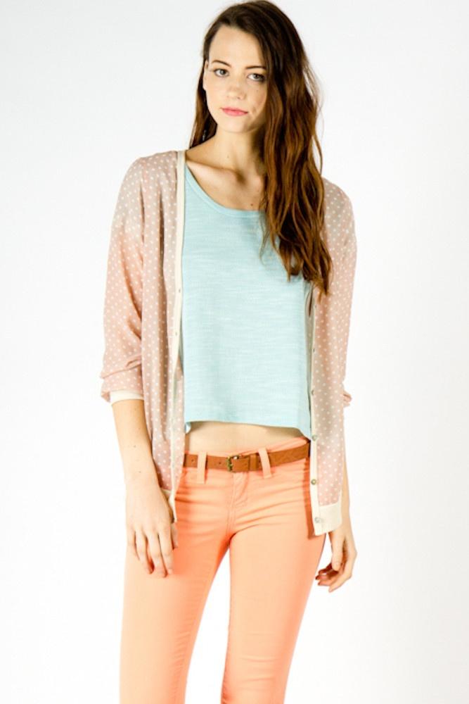 Chiffon Cardigan: Chiffon Pastel, Outfits Stuff, Coral Jeans, Outfits If, Cozy Outfits, Cute Outfits, Modern Style, Pastel Colors, Chiffon Cardigan