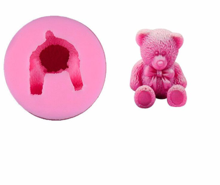 3D Teddy Bear with Bow Silicone Mold