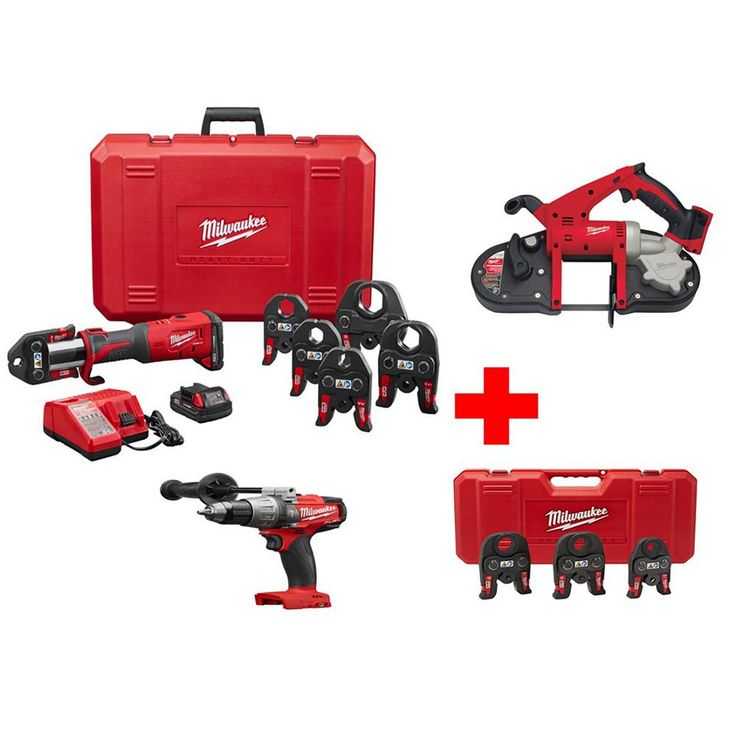 Milwaukee M18 18-Volt Lithium-Ion Cordless Press Tool Kit W/ 1/2 in. - 2 in. Jaws W/Free Bandsaw, Hammer Drill & Extra Jaw Kit