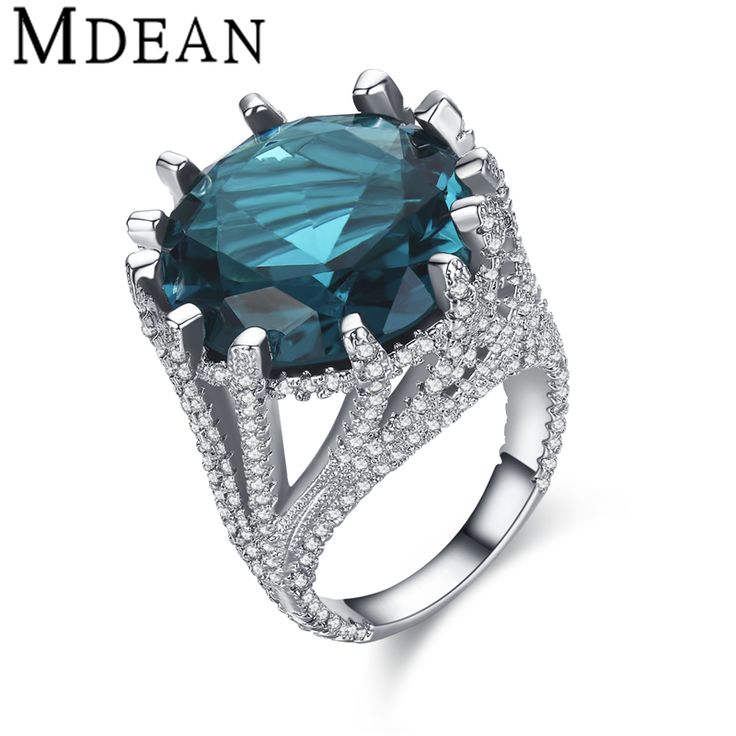 MDEAN White Gold Plated Rings for women vintage bijoux ring CZ diamond jewelry wedding engagement women rings LUXURYBague MSR425