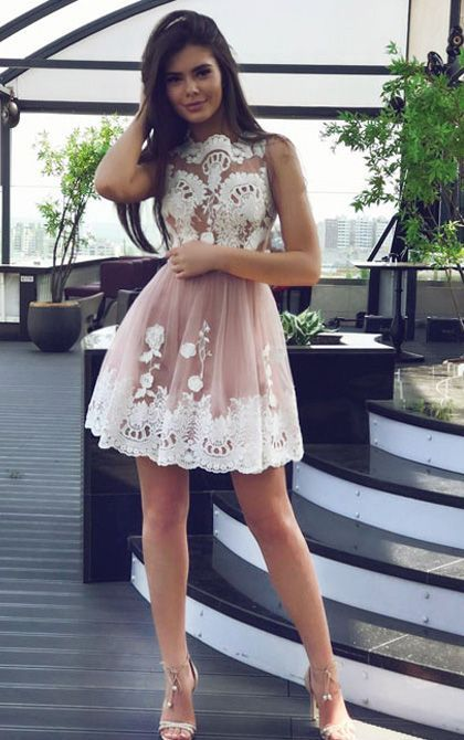 A-line Homecoming Dresses,Round Neck Homecoming Dresses,Short Homecoming Dresses,Blush Homecoming Dresses,Tulle Homecoming Dresses,Appliques Homecoming Dresses,Homecoming Dresses 2017,Graduation Dresses