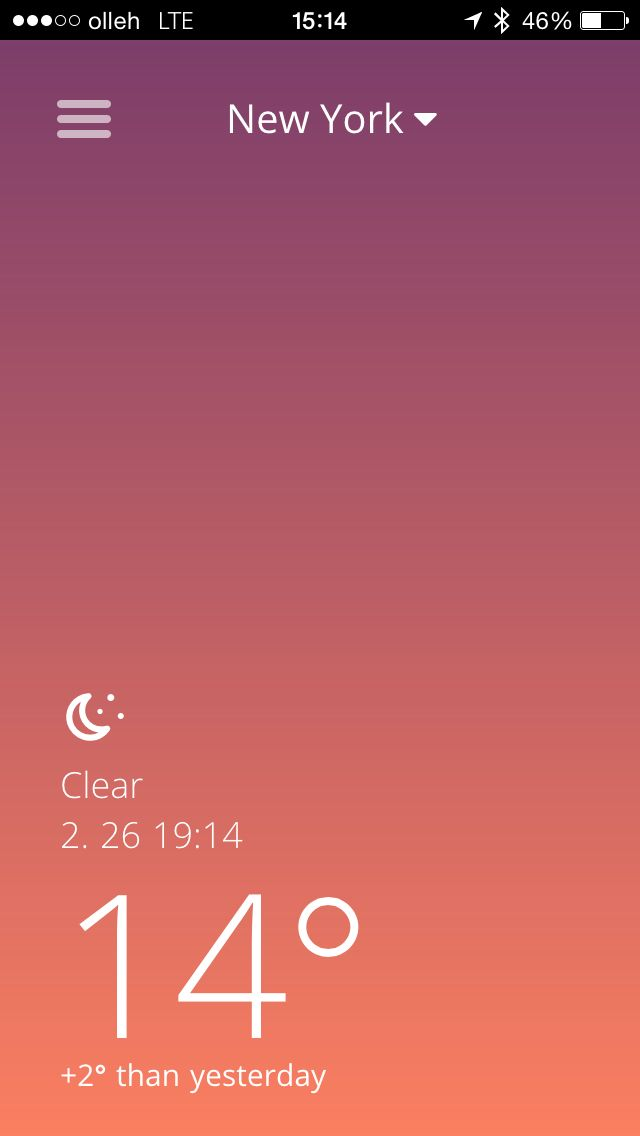 Current weather screen @ Pushweather. Pushweather mobile weather application for Android and iOS. (mobile app, weather app, mobile application, mobile weather app)